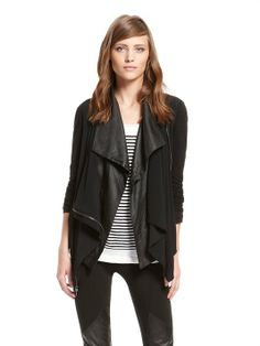 pureDKNY Ghost Crepe Drape Front Jacket with Fine Lyocell Sleeves and Back - DKNY