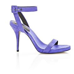 Alexander Wang Juliana Suede Sandal ($233) ❤ liked on Polyvore featuring shoes, sandals, heels, purple, famous footwear, ankle strap shoes, ankle wrap sandals, wrap sandals and ankle tie sandals