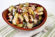 Roasted Brussels Sprouts and Apples with Tahini Dressing (vegan, gluten free) - This sweet and savory dish is perfect for Thanksgiving! Even the pickiest eaters will love it!