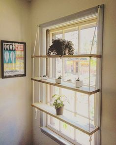 CUSTOM / Light Pine / Rope / Hardware / Minimilist / Hanging Shelf Unit - Custom wooden shelves made to order. Indoor gardens, succulent displays, the spread of plants, cutt - Playroom Organization, Organizing, Art Studio Organization, Organization Ideas, Custom Lighting, Home Projects, Outdoor Projects, Diy Furniture, Home Organization