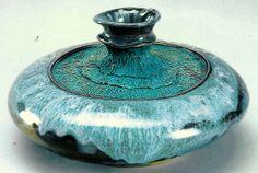 M.Wein  Teal underglaze and teal glaze Sphere vase