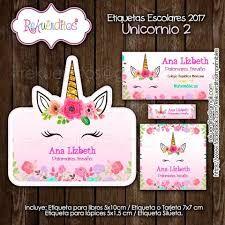Resultado de imagen para etiquetas escolares personalizadas gratis para imprimir unicornio