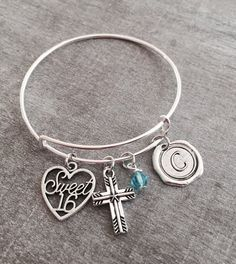 Silver Jewelry Charm Bracelet Sweet 16 Gift By Sajolie Gifts