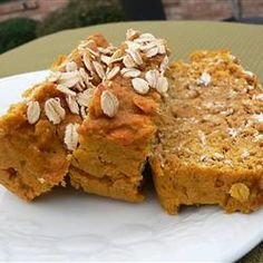 Pumpkin Oat Bread Allrecipes.com -- sub apple sauce for oil and do only 2 yolks and 4 whites. also do some random replacement of AP flour for oat flour...