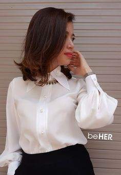 5adaf12c3e8f4a Bow Blouse, Blouse And Skirt, Collar Blouse, Collar Shirts, Ruffle Blouse,