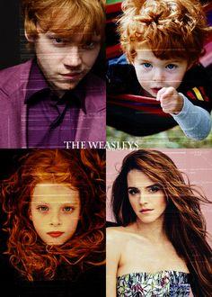 rupelover:  The Weasleys    Ron Weasley, Hugo Weasley, Rose Weasley and Hermione Granger-Weasley.