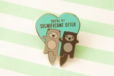 """Tiny Bee Cards -""""Significant Otter"""" Otters Holding Hands Hard Enamel Lapel Pin - Valentine's Day Love Gift for Boyfriend Girlfriend Husband Wife Unicorn Horn Makeup Brushes, Little Finger Got, Otter Puns, Otters Holding Hands, Significant Otter, Naughty Emoji, Gifts For Your Boyfriend, Boyfriend Girlfriend, Bee Cards"""