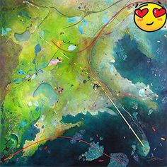 """#painting """" #Green Bayou†is one in a series of works that was inspired by the satellite imagery of Google Earth near the Mississippi river Delta area. When lo..."""