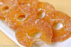 This Candied Pineapple recipe is a classic that produces sweet, chewy candied pineapple that's perfect for using in baking recipes or for eating on its own.