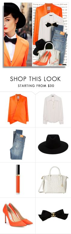 """""""Trendy - head-turning shoes"""" by breathing-style ❤ liked on Polyvore featuring Maison Rabih Kayrouz, Plein Sud, Citizens of Humanity, rag & bone, Chanel, Brahmin and Jimmy Choo"""