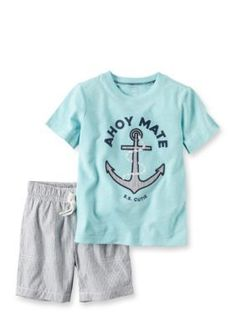 Carters Light Blue 2-Piece Graphic Tee  Striped Short Set Toddler Boys