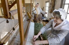 At the Weaver's Shop, you can discover the rhythm of spinning or weaving. Learn how flax, cotton, and wool were converted from tangled masses into orderly, precise fabrics, ranging from workaday linens for shirts and shifts to blankets, towels, dyed wool for needlework, and stout woolens for military uniforms.