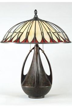 Beautiful Nouveau lamp.  Glass shade.  wonderful.