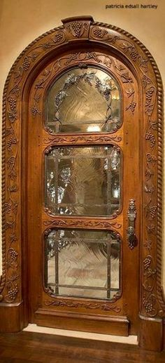 Arched doorway with glass panels. I think this is a perfect door into a wine room, or even a breezeway entrance. Just exquisite! Cool Doors, Unique Doors, Grand Entrance, Entrance Doors, Front Doors, Knobs And Knockers, Door Knobs, Door Handles, Art Nouveau