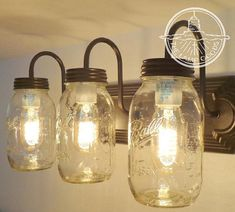 MASON JAR Light Wall Sconce NEW Quart Trio - Farmhouse Lighting Vanity Bathroom Fixture Ceiling Chandelier Kitchen Lamp Pendant by LampGoods