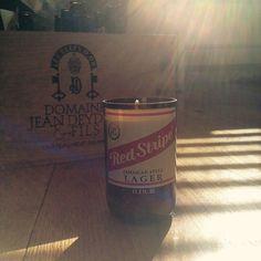 Red Stripe Beer Bottle Soy Wax Candle by LimeGreenTaxiShop on Etsy #limegreentaxishop #madeinbrooklyn #soycandle #gosoyorgohome #redstripe #redstripecandle #burnbabyburn