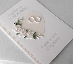 Quilled wedding card, congratulations, personalized