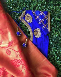 Latest Maggam Work Blouse Designs 2018 by Nyshka Design Studio boutique located in coimbatore, tamilnadu. Designer blouses for silk sarees Simple Blouse Designs, Bridal Blouse Designs, Royal Blue Saree, Pattu Saree Blouse Designs, Maggam Work Designs, Hand Embroidery Designs, Aari Embroidery, Design Studio, Work Blouse