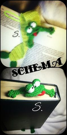 The frog bookmark crochet free english and italiano Pattern