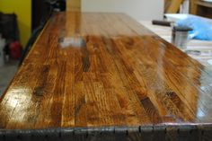Unfinished Red Oak turned bar top for a wine bar :) Gorgeous!