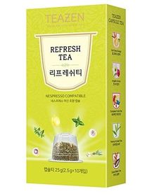 TEAZEN Refresh Capsule Tea for Nespresso Machine (10-Count Box ) •COMPATIBILITY •EASY TO DRINK •DEEP AND RICH FLAVOR •ALWAYS SAME FLAVOR AND FRAGRANCE •ENJOY COOL ICED TEA ALL YEAR  #tea #capsule #Nespresso #drinkingtea #aroma #flavor #fragrance #cool #korean #koreanproduct