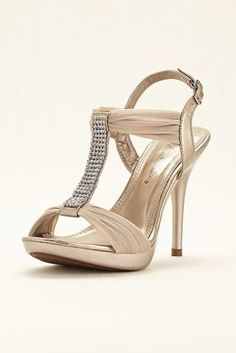 """Let your inner fashionista shine in these gorgeous crystal sandals!  Gathered mesh sandals feature sparkling crystal T-strap.  4 1/2"""" heel. 1/2"""" platform.  Fully lined.  Imported."""