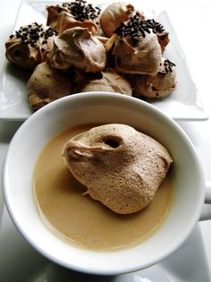 Little Chocolate Clouds in my coffee. Get the recipe by clicking the photo and.eat with joy! ~ Cleo Coyle, author of The Coffeehouse Mysteries Chocolate Meringue, Mocha Chocolate, Good Food, Yummy Food, Delicious Recipes, Desert Recipes, Just Desserts, Holiday Recipes, Sweet Tooth
