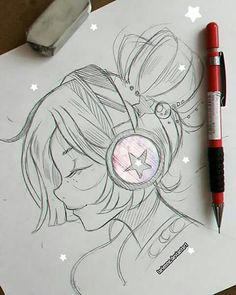 trendy ideas for anime art music drawings Anime Drawings Sketches, Cute Sketches, Girly Drawings, Music Drawings, Cool Art Drawings, Pencil Art Drawings, Manga Drawing, Anime Sketch, Love Sketch