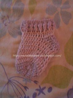 Meia de crochê feita com lã para bebês PAP
