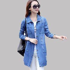 72b20691990 2016 Spring Long Sleeve Women Denim Jacket Frayed Jeans Jackets Women  Overcoat Jean Coats S