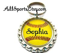 Personalized Softball Player Backpack Charm Team Gift by AllSports, $3.00- great end of the year gift :)