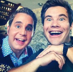 Pin for Later: Pitch Perfect Check Out All the Behind-the-Scenes Fun Treblemaker Platt and former Treblemaker Adam DeVine made silly faces on the set. Adam Devine, Pitch Perfect 2, Ben Platt, Silly Faces, Theatre Nerds, Guys And Dolls, Dear Evan Hansen, Making Faces, Comedy Movies