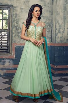 Net Machine Work Green Semi Stitched Long Anarkali Suit - A10021 In Stock: Rs 1,999