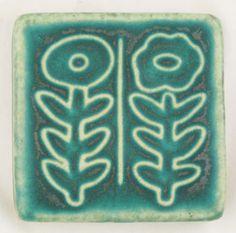 Pewabic Pottery tile - 3x3 Two Flowers