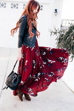 Black moto jacket + Chicwish maroon floral maxi dress by littlejstyle Modest Fashion, Love Fashion, Autumn Fashion, Fashion Outfits, Style Fashion, Club Fashion, Jeans Fashion, 1950s Fashion, Fashion Black