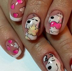 ideas fails art valentines day 2019 for 2019 Disney Acrylic Nails, Cute Acrylic Nails, Cute Nail Art, Beautiful Nail Art, Nail Polish Designs, Cute Nail Designs, Love Nails, Pretty Nails, Snoopy Nails