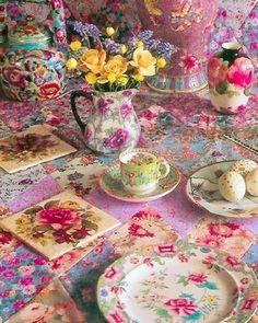 Absolutely ❤ it . . . Kaffe Fassett tea table- (Edited, to enlarge) ~From Susan Shufelt