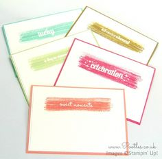 South Hill Designs & Stampin' Up! Sunday Watercolour Notecards Tutorial All 5 Cards (stamp over clear embossed words)