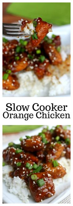 Slow Cooker Orange Chicken–make a flavorful, restaurant-style orange chicken at home in your slow cooker. This reminds me of Panda Express orange chicken.