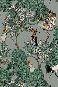 Bird Patterns, Textile Patterns, Blooming Trees, Indian Folk Art, Tropical Forest, Cute Patterns Wallpaper, Exotic Birds, Silk Screen Printing, Tribal Art