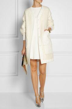 Nina Ricci Cotton-trimmed textured knitted coat NET-A-PORTER.COM