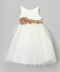 Love this Ivory & Champagne Petal Sash Dress - Toddler & Girls by Cinderella Couture on #zulily! #zulilyfinds