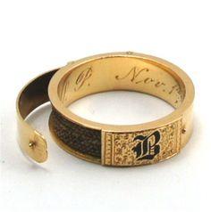 Antique Victorian Gold Enamel Hidden Hair Locket Mourning Ring 'B' c1870