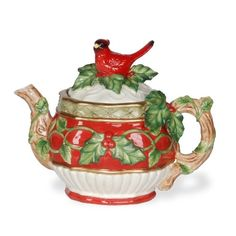 Holly Cardinal Teapot by Kaldun & Bogle