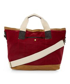 Look at this Maker & Company Red & Tan Tote on #zulily today!