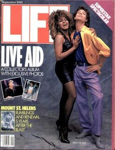 "Mick Jagger And Tina Turner - Life Magazine, September 1, 1985 issue - Visit http://oldlifemagazines.com/the-1980s/1985/september-01-1985-life-magazine.html to purchase this issue of Life Magazine. Enter ""pinterest"" at checkout for a 12% discount. Mick Jagger And Tina Turner"