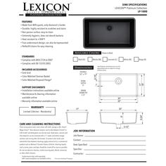 Lexicon Platinum Quartz Composite 32x19 Inch Kitchen Sink With Large Single  Bowl By LEXICON | Sinks, Remodeled Kitchens And Kitchens