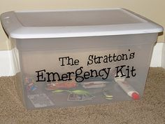 Very doable family emergency preparedness kit. Items are broken down by the week to buy over a year.