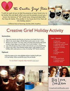 Our holiday kit for creative grief activity is out today. Plus a big welcome to announce Tamara Beachum as our new Program Administrator and more.  http://us4.campaign-archive2.com/?u=fd03c4d17dad1f92f5eab98c2&id=7c527c9c22