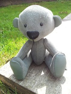 Made by myself from real suede..fully jointed with glass eyes and leather paw pads..for sale on ebay...